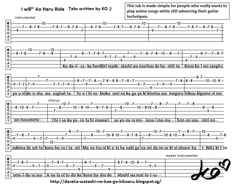 Anime Guitar Tabs: Tabs for I will~ Ao Haru Ride