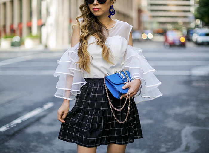 Chicwish Cheery White Cold-shoulder Top with Tiered Sleeves, tiered ruffle top, madewell windowpane skirt, windowpane skirt, valentino lock bag, schutzl pumps, karen walker sunglasses, baublebar tassel earrings, spring style, san francisco fashion blog, san francisco street style, spring outfit ideas