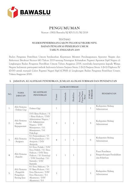 Seleksi Penerimaan CPNS Badan Pengawas Pemilihan Umum (BAWASLU) Tahun Anggaran 2019
