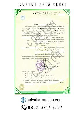 contoh akta cerai dari Pengadilan Agama Medan