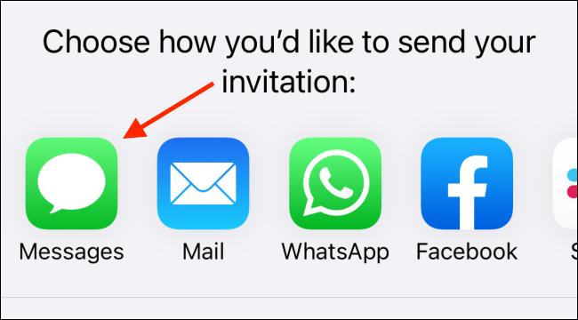 """اضغط على """"الرسائل"""" لإرسال دعوة."""