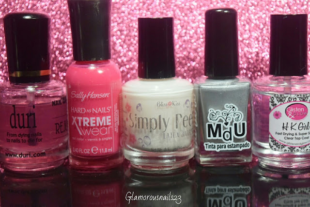 Duri Rejuvacote, Sally Hansen Pink Punk, Bliss Kiss Simply Peel Latex Barrier, Mundo De Unas Silver Glisten & Glow HK Girl Fast Drying Top Coat