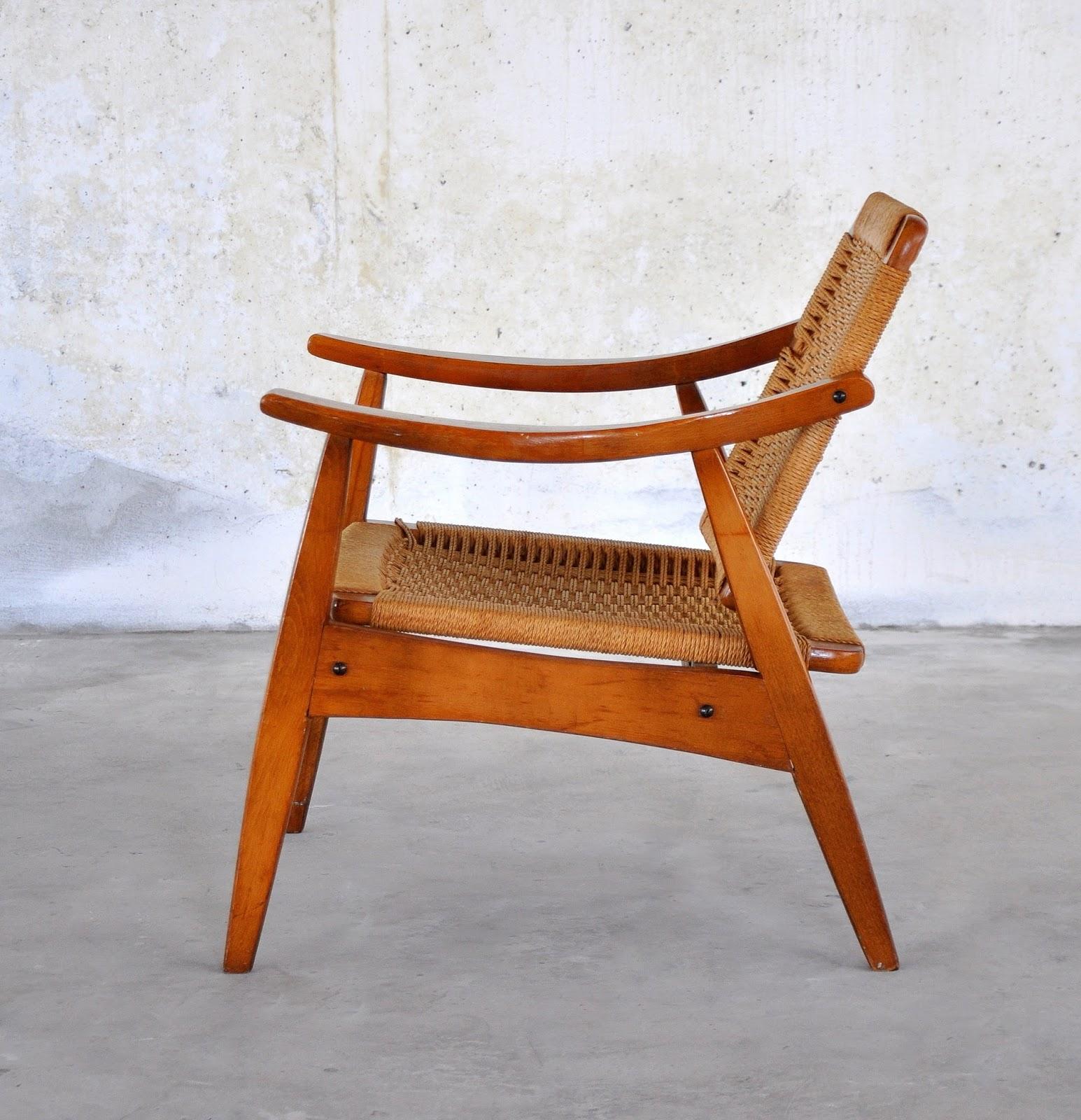 MCM Style Hans Wegner Papa Bear Chair /& Ottoman Navy Fabric Repro Midcentury