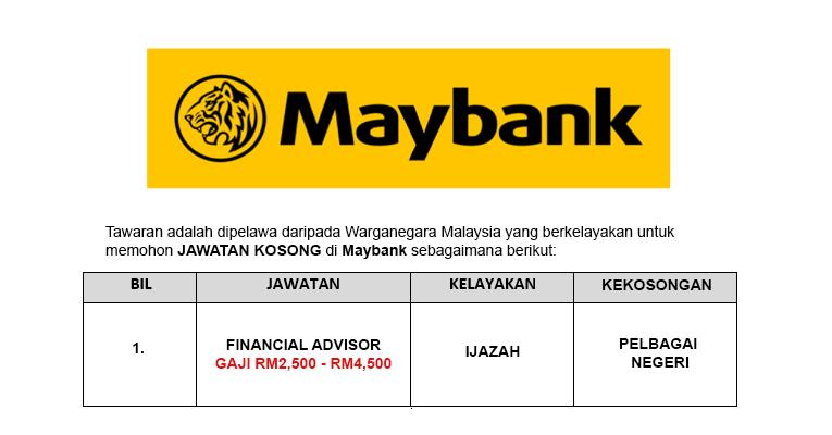 Jawatan Kosong di Malayan Banking Berhad Maybank