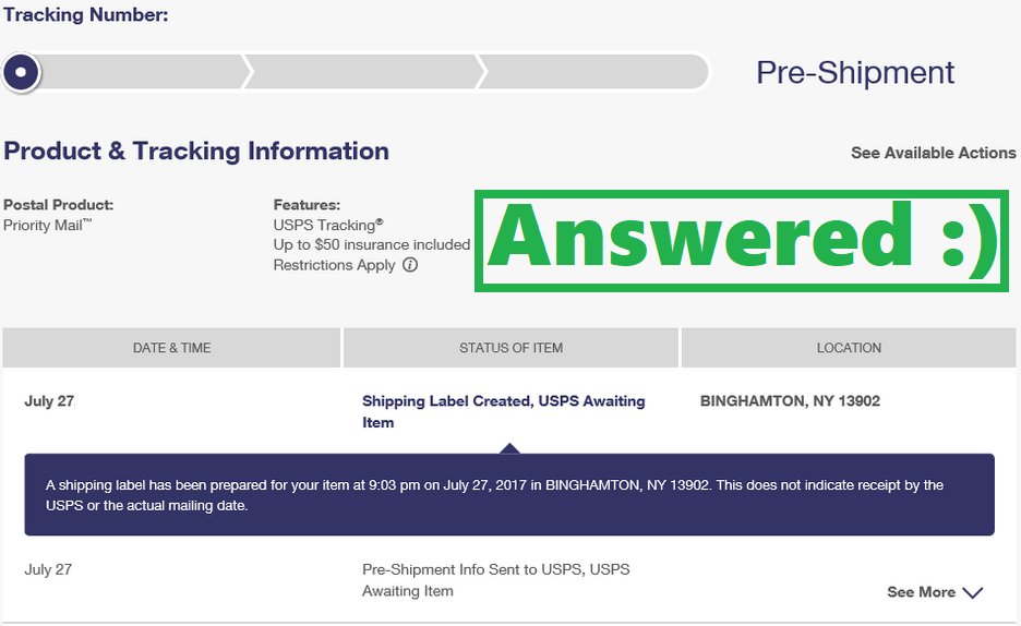 usps pre-shipment: shipping label created, usps awaiting item (fix)