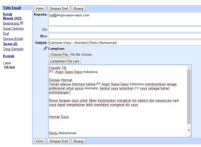 contoh email lamaran kerja cv yang baik dan benar blog