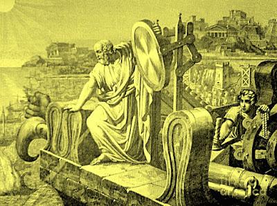 Arquímedes manejando uno de sus espejos ustorios, esperando que las naves romanas se estén quietas, para que surta efecto el ingenio.