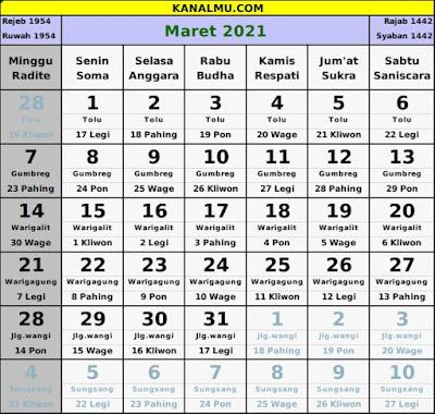 kalender maret 2021 lengkap jawa hijriyah