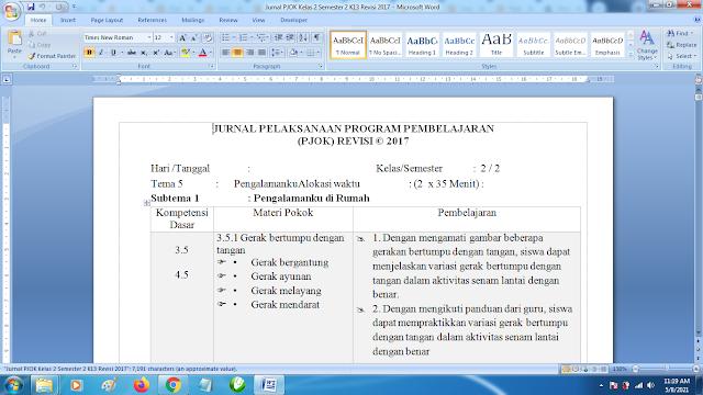 Contoh Format Jurnal Harian PJOK Kelas 2 SD Semester 2 k13 Revisi Terbaru