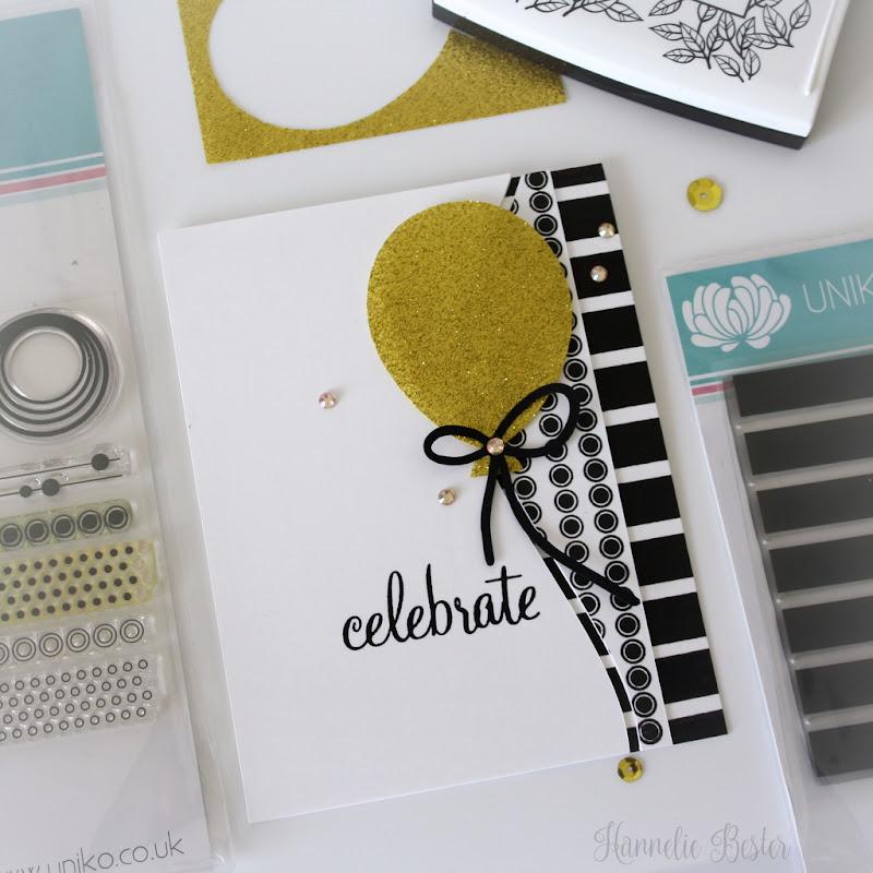 Celebrate card in black, white & gold - Uniko studios