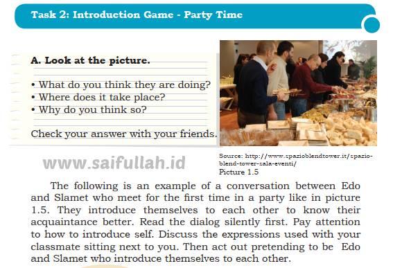 Chapter 1 Task 2 Halaman 17 Bahasa Inggris Kelas 10: Introduction Game - Party Time