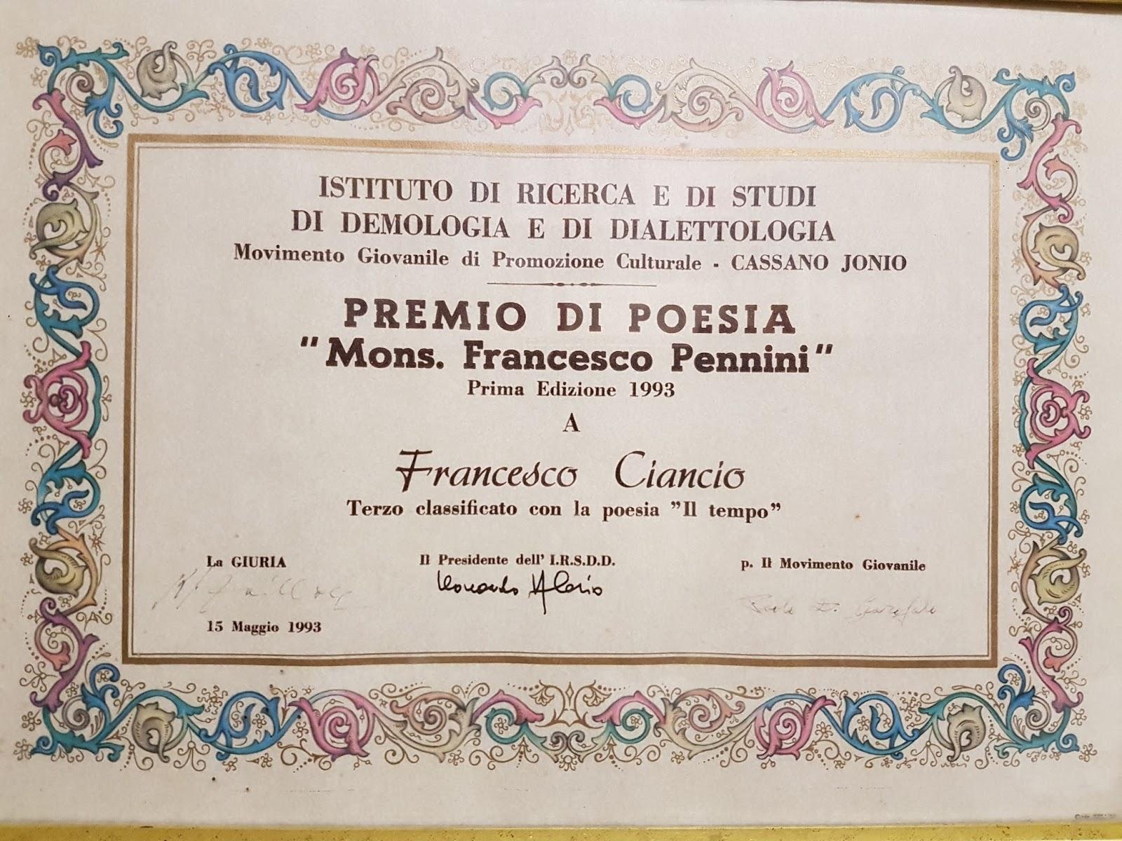 Famoso Poesia: Il Tempo - Franco Ciancio UO58