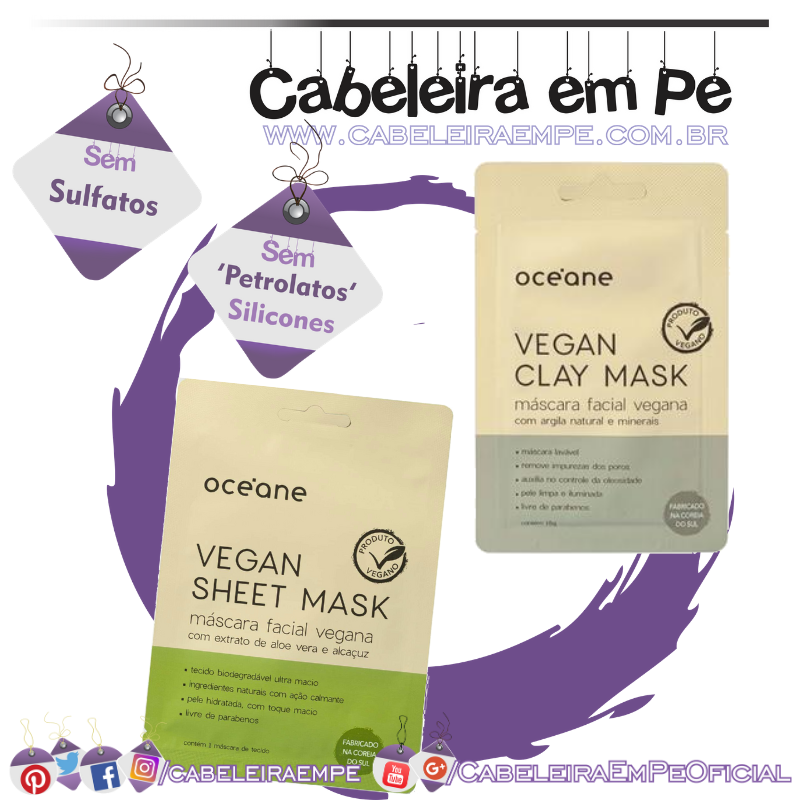Vegan Sheet Mask e Vegan Clay Mask - Océane
