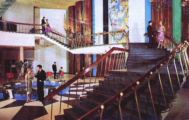1964 modern hotel stairs in an awkward senseless design, a color photograph