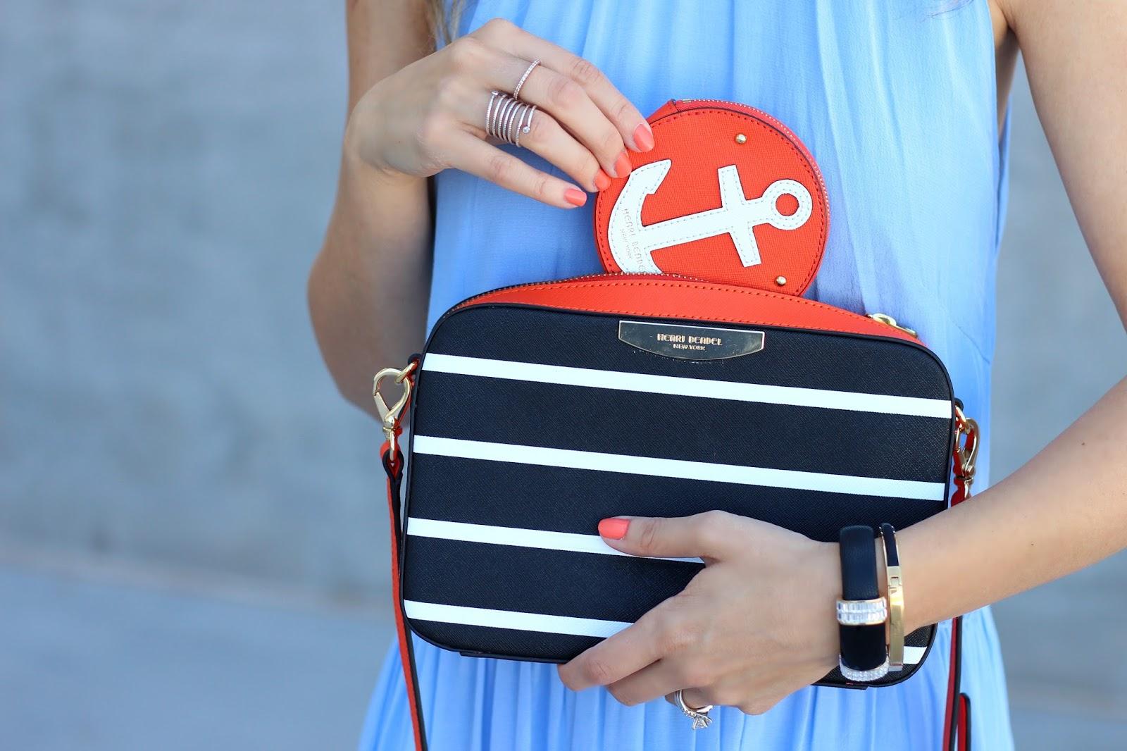 stripes, coin purse, henri bendel