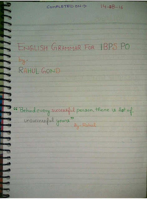 English Grammar Hand Written Notes : for IBPS PO Competitive Exams PDF