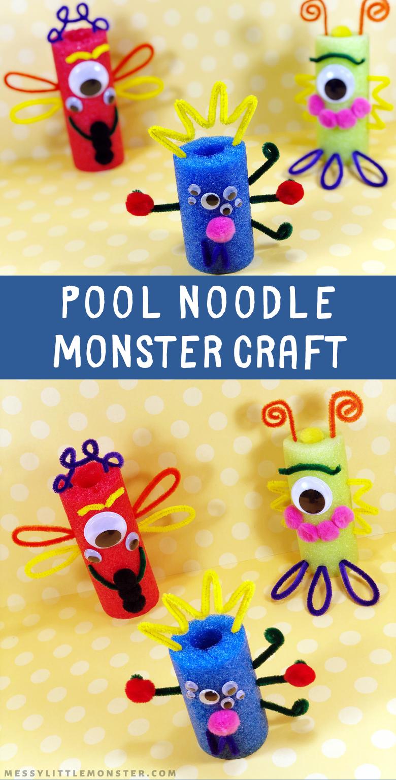 Pool noodle crafts. Monster crafts for kids. Easy Halloween craft idea.