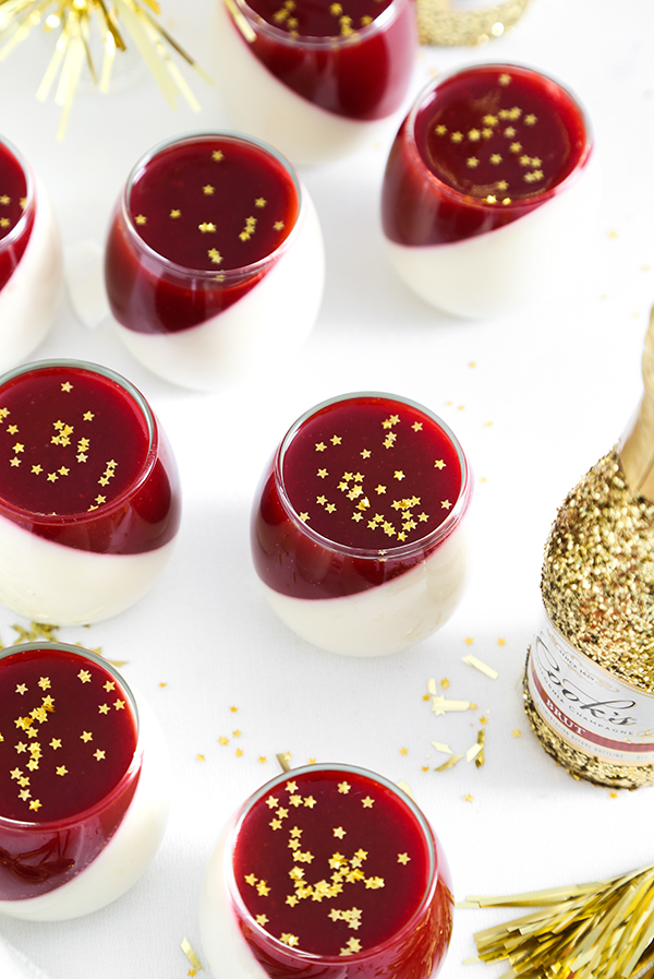 White Chocolate Panna Cotta with Champagne Spiked Coulis