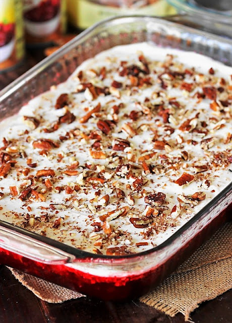 7-Up Cranberry Jello Salad in Baking Dish Image