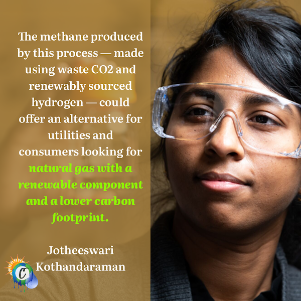 The methane produced by this process — made using waste CO2 and renewably sourced hydrogen — could offer an alternative for utilities and consumers looking for natural gas with a renewable component and a lower carbon footprint. — PNNL chemist Jotheeswari Kothandaraman