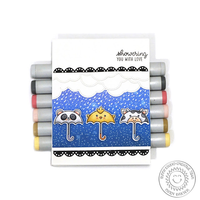 Sunny Studio Stamps: Spring Showers Eyelet Lace Border Dies Fluffy Clouds Border Dies Everyday Card by Mindy Baxter
