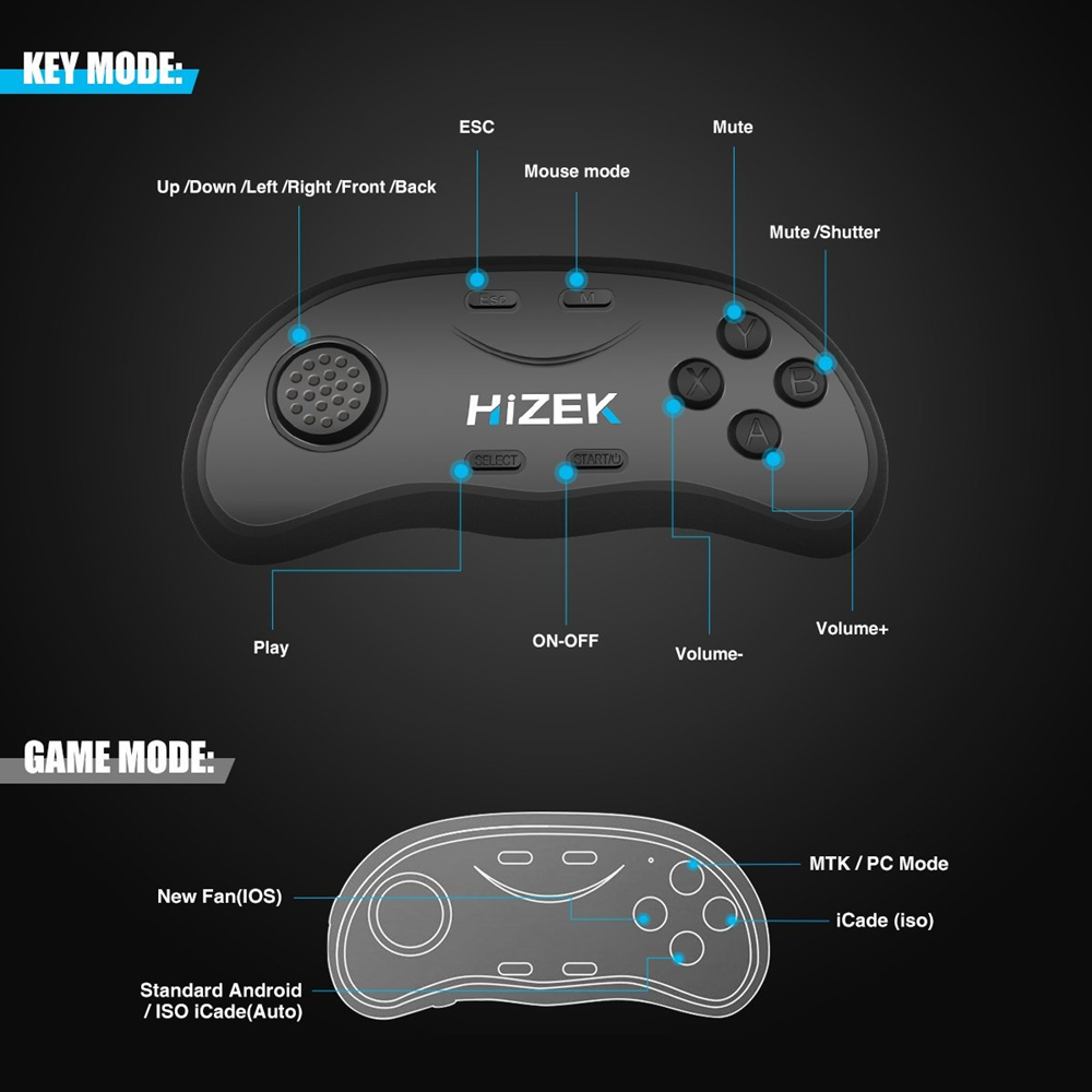 Hizek VR Remote Controller Wireless Bluetooth Remote Game