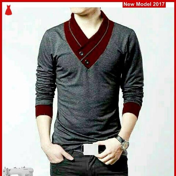 MSF0083 Model Tshirt Gray Murah Combi Maroon BMG