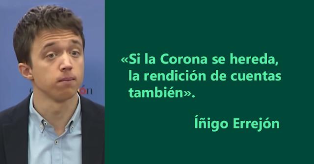 """Íñigo Errejón: """"Si la Corona se hereda, la rendición de cuentas también"""""""
