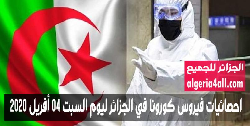 احصائيات فيروس كورونا في الجزائر ليوم السبت 04 أفريل 2020