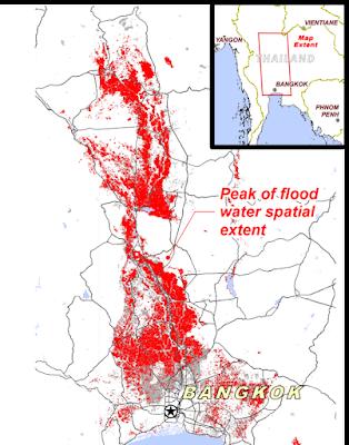 Etendue des inondations thailandaises de 2011