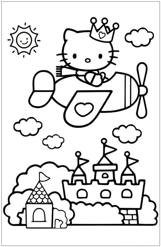 Tranh tô màu mèo hello kitty đi máy bay