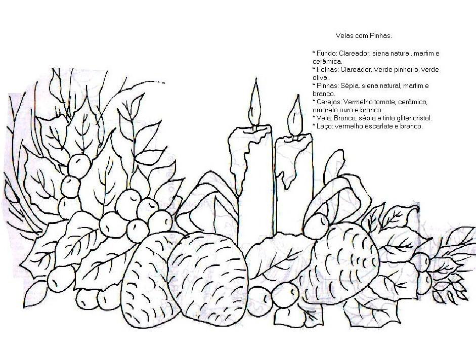 Desenhos De Velas De Natal Para Colorir.Dibujos Navidenos