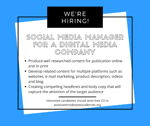 VACANCY FOR A SOCIAL MEDIA MANAGER