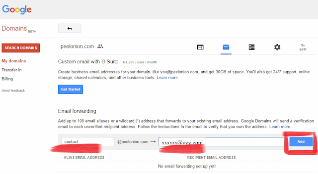 email forwading google domains form filling