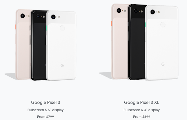 Pixel 3 and Pixel 3 XL prices