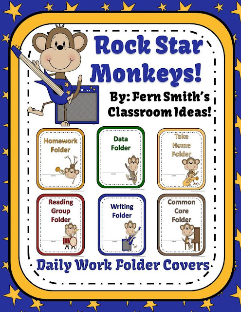 Fern Smith's Classroom Ideas Rock Star Monkey Themed Daily Work Folder Covers for Elementary Teachers at TeacherspayTeachers.