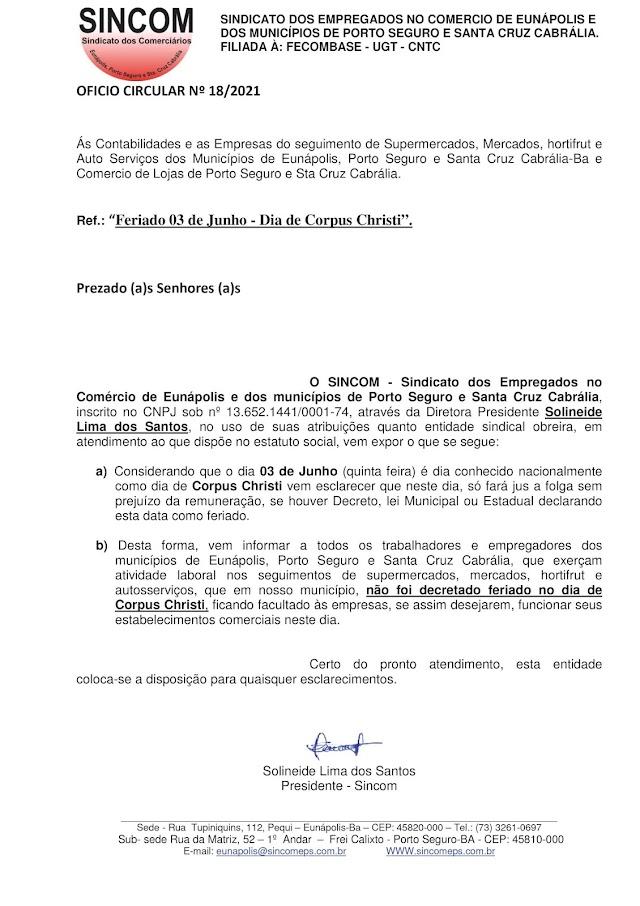 Sindicato divulga Circular para informar sobre a abertura do comércio nesse feriado do dia 3 de junho