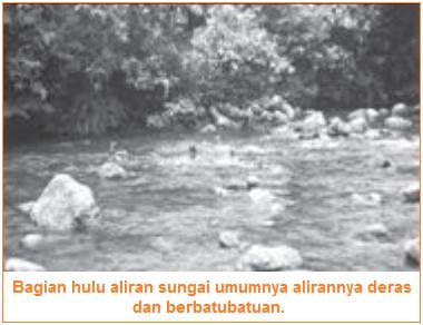 Hulu sungai - aliran sungai dibagi menjadi tiga bagian, yaitu daerah hulu, tengah, dan hilir.