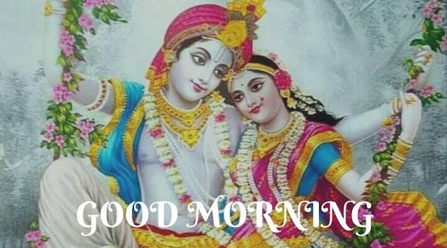 cute radha krishna good morning images