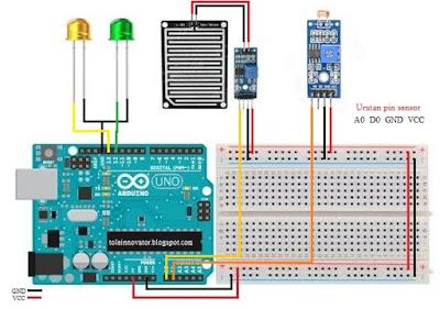 Rangkaian gabungan sensor ldr dan hujan Arduino
