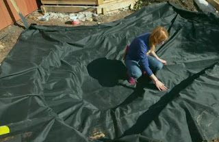 Katie lays the pond lining
