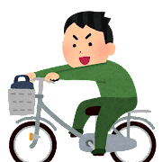 荷台に乗って自転車を運転する人のイラスト