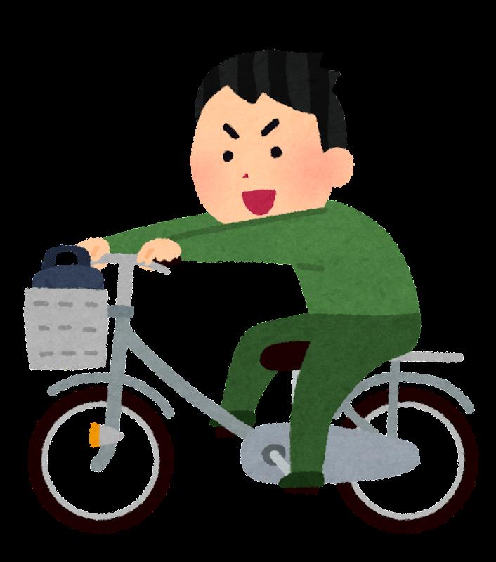 荷台に乗って自転車を運転する人のイラスト かわいいフリー素材集