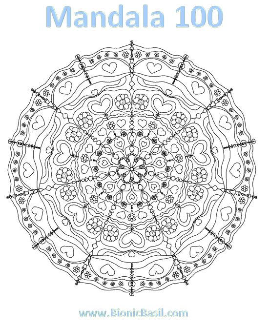 Mandalas on Monday ©BionicBasil® Colouring With Cats #100 Downloadable Image