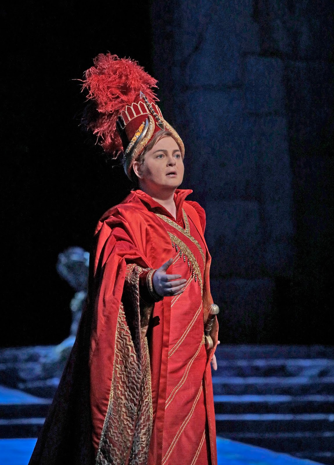 SINGER SPOTLIGHT: Mezzo-soprano ELIZABETH DESHONG as Arsace in The Metropolitan Opera's 2018 production of Gioachino Rossini's SEMIRAMIDE [Photo by Ken Howard, © by The Metropolitan Opera]