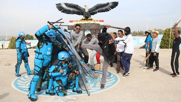 Markas Pasukan Garuda Didemo Massa Anti Perdamaian