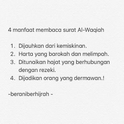 Manfaat membaca Surat Al-Waqi'ah