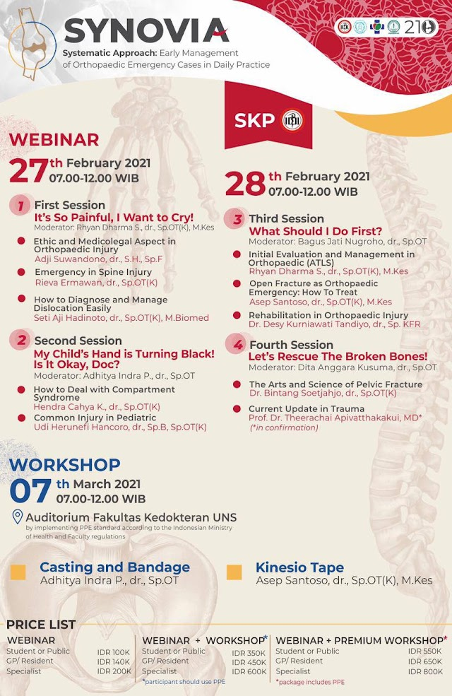 Webinar & Workshop *SYNOVIA*    _Systematic approach: Early Management of Orthopedic Emergency Cases in Daily Practice