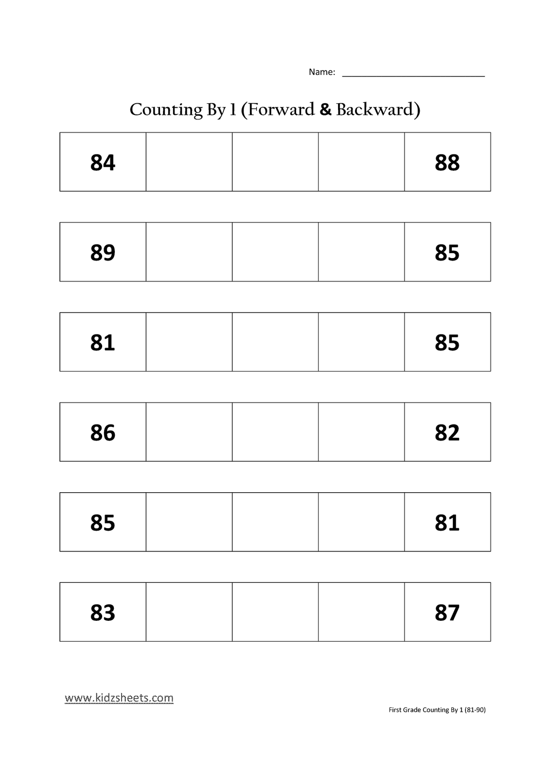 Kidz Worksheets First Grade Counting By 1 81 90