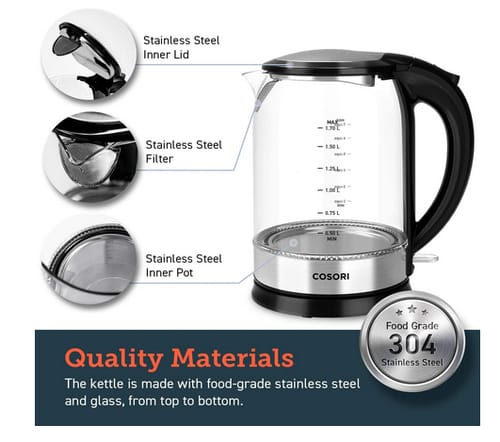 COSORI CO171-GK2 1.7L Glass Electric Kettle